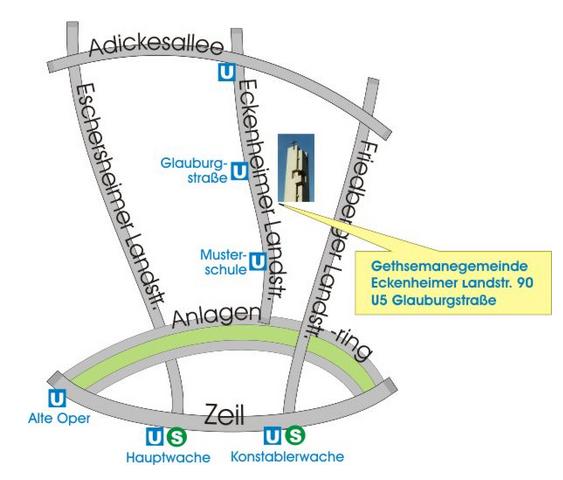 Karte Gethsemanegemeinde Eckenheimer Landstr. 90